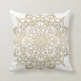 Gold Mandala White Chic Glamour Modern Glam Throw Pillow