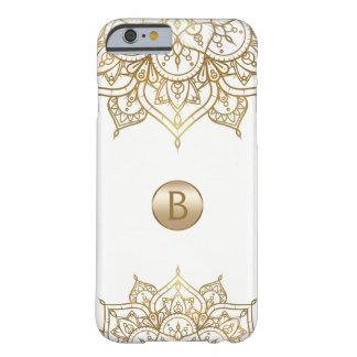 Gold Mandala & White Chic Modern Glam Monogram Barely There iPhone 6 Case
