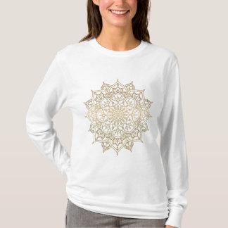 Gold Mandala & White Chic Modern Glam Trendy T-Shirt