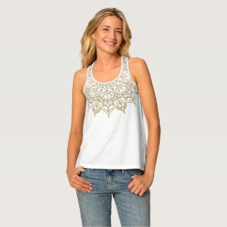 Gold Mandala & White Chic Modern Glam Trendy Tank Top