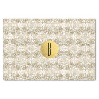 Gold Mandala & White Elegant Chic Monogram Modern Tissue Paper