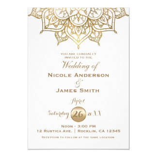 Gold Mandala White Modern Elegant Minimal Wedding Card