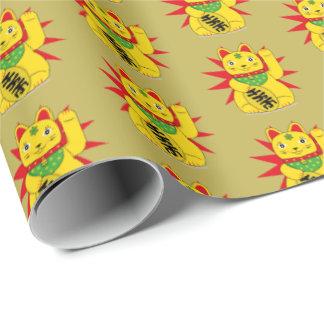 Gold Maneki Neko Good Luck Lucky Fortune Cat Wrapping Paper