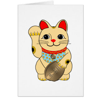 Gold Maneki Neko Greeting Card