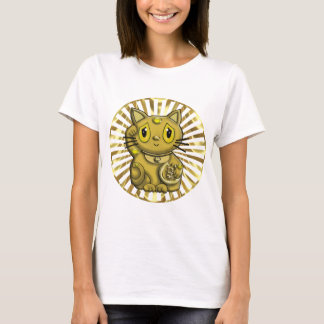 Gold Maneki Neko Lucky Beckoning Cat T-Shirt
