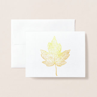 Gold Maple Leaf Skeleton Greeting Card