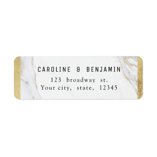 Gold marble luxury modern wedding return address