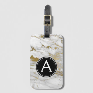 Gold Marble Monogram and Stars Luggage Bag Tag