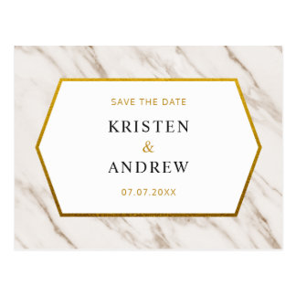 Gold Marble | Save The Date Postcard