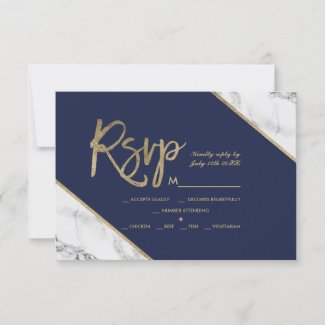 gold marble script navy blue rsvp wedding