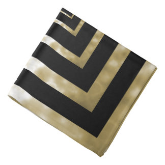 Gold Marble Squared on Black Bandana
