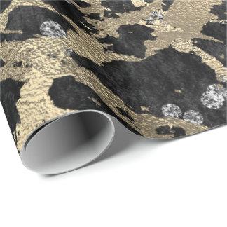 Gold Marble Strokes Shiny Metallic Black Diamond Wrapping Paper