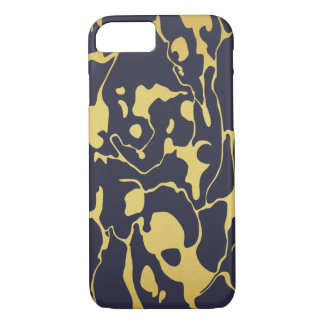 Gold Marble with Navy Blue Background iPhone 7 Case