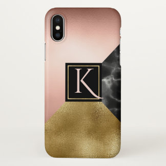Gold Marbled Monogrammed iPhone X Case