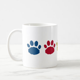 Gold, Maroon and Teal Paw Prints Coffee Mug