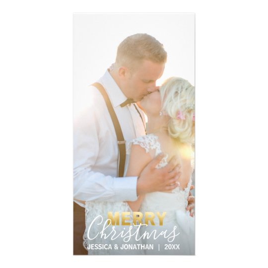 Gold MARRIED CHRISTMAS First Holiday | Add PHOTO Card