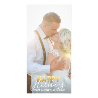 Gold MARRIED First Happy Holidays   Add PHOTO Card