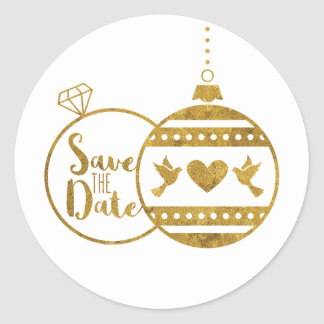 Gold, Marry and Bright Christmas Save the Date Classic Round Sticker