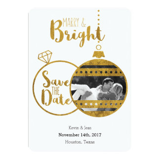 Gold, Marry and Bright Christmas Save the Dates Card