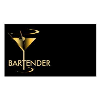 Gold Martini Cocktail Bartender Business Card