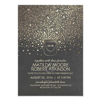 Gold Mason Jar Fireflies Rustic Wedding Card