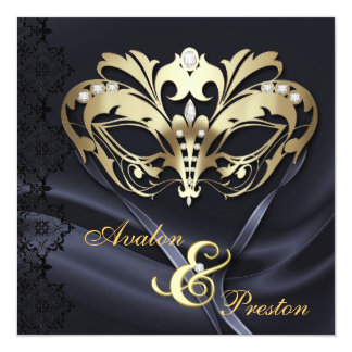 Gold Masquerade Black Jeweled Wedding Card