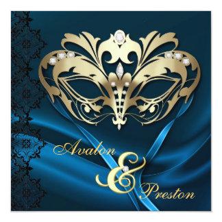 Gold Masquerade Blue Jeweled Wedding Card