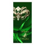 Gold Masquerade Green Jewelled Wedding Program Rack Card