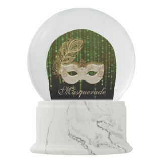 Gold Masquerade Green String Lights White Marble Snow Globe