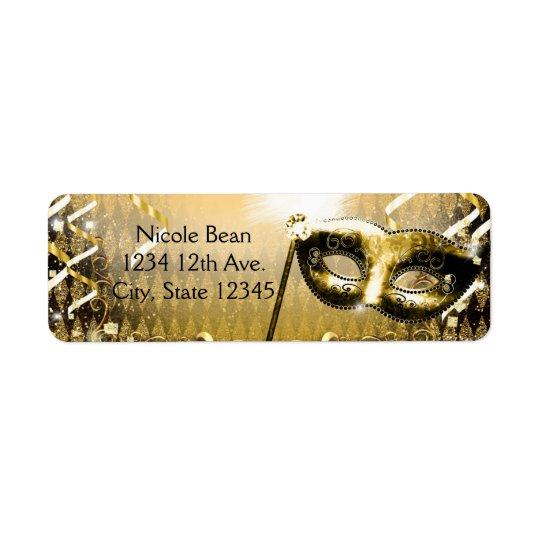 Gold Masquerade Mask Elegant Ball Birthday Party Return Address Label