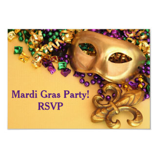 Gold Masquerade Mask Mardi Gras Invitation