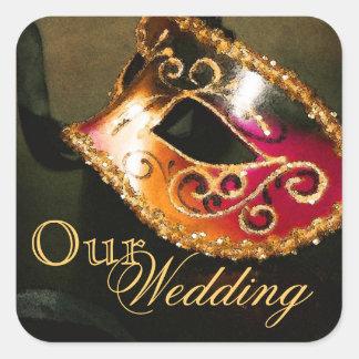 Gold Masquerade Our Wedding Sticker