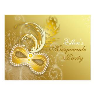Gold Masquerade Party Invitation Postcard