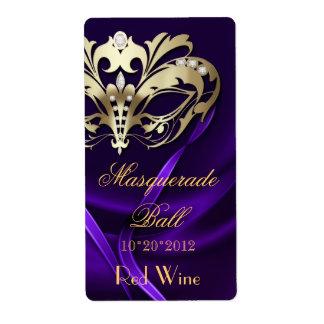 Gold Masquerade Purple Jeweled Holiday Wine Label