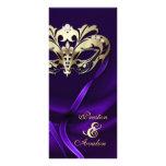 Gold Masquerade Purple Jewelled Wedding Program Custom Rack Card