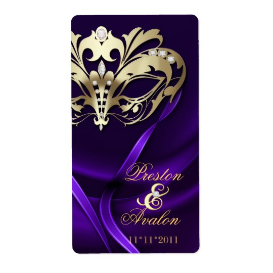 Gold Masquerade Purple Jewelled Wedding Wine Label