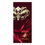 Gold Masquerade REd Jewelled Wedding Program Custom Rack Cards