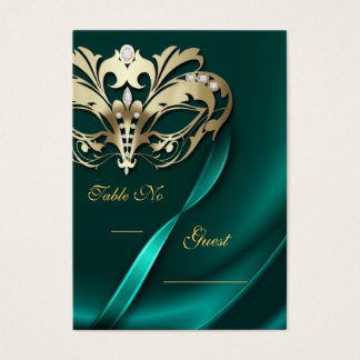 Gold Masquerade Teal Jeweled Table PlaceCard Business Card
