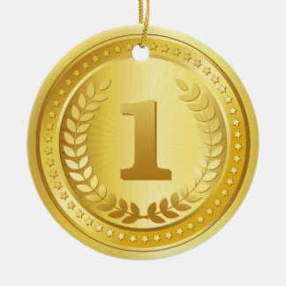 Gold medal 1st place winner button round ceramic ornament