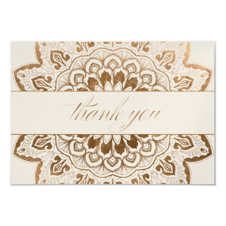 Gold Medallion Shimmer Mandala Thank You Note Card