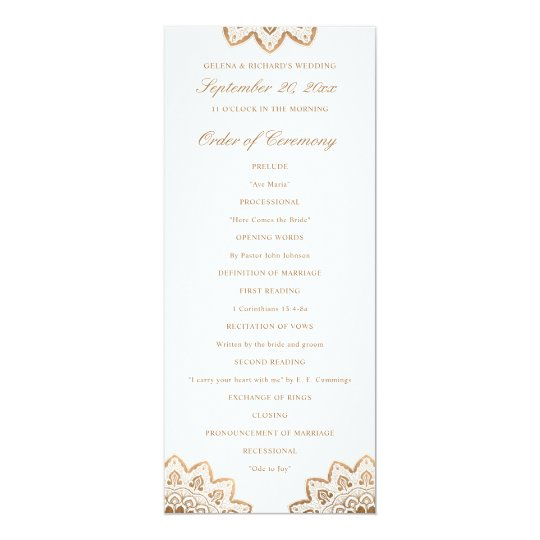 Gold Medallion Wedding Program