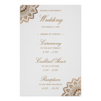Gold Medallion Welcome Wedding Events Poster