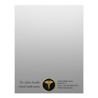 Gold Medical Caduceus - Letterhead