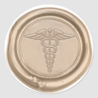 Gold Medical Caduceus Symbol Nurse Doctor Wax Seal
