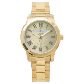 gold medical caduceus symbol watch