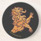 Gold Medieval Lion on Black Coaster