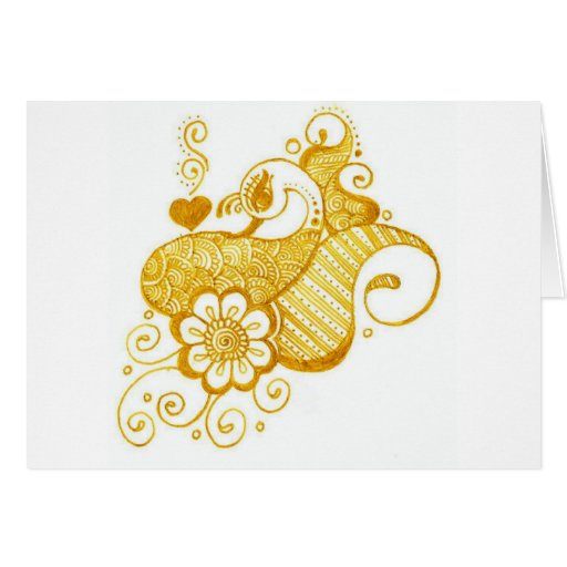 Gold Mehndi henna art Card