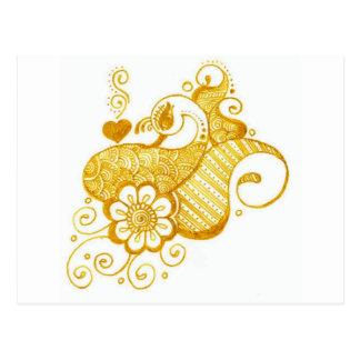 Gold Mehndi henna art Postcard