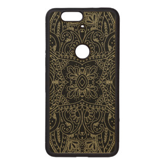 Gold Mehndi Mandala on Maple Wood Nexus 6P Case