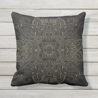 Gold Mehndi Mandala Patio Outdoor Pillow